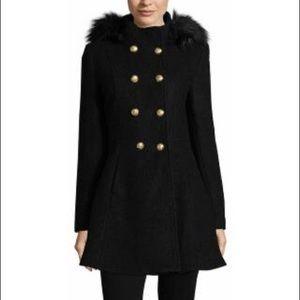 NWT Liz Claiborne Boucle Hooded Swing Coat